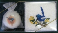 Embroidered Blue Wren Face Cloth & Soap - Click for more info