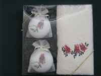 Gift Box embrioded hand towel sturt pea + 2 soaps - Click for more info